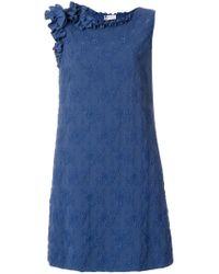 Lanvin - Blue Floral Cloqué Dress - Lyst