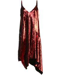 Vestido ajustado asimétrico con lentejuelas Marques'Almeida de color Red