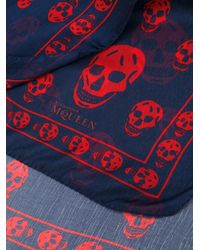 Alexander McQueen - Blue Skull Scarf for Men - Lyst