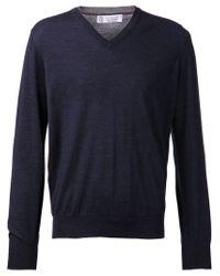 Brunello Cucinelli Blue V-neck Sweater for men