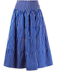 Prada ストライプ ハイウエストスカート Blue