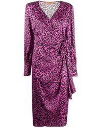 Vestito a portafoglio con stampa di ANDAMANE in Purple
