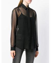 Saint Laurent Black Sheer Embroidered Blouse