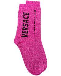 Носки С Логотипом Вязки Интарсия Versace, цвет: Pink