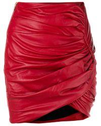 Alexandre Vauthier Red Draped Mini Skirt