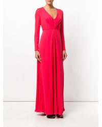 Giorgio Armani Red Ruched Long-sleeved Dress