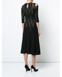 Oscar de la Renta Black Cold-shoulder Sheer Plissé Dress
