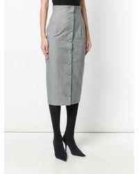 Off-White c/o Virgil Abloh Gray Check Pencil Skirt