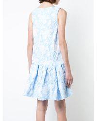 Rochas - Blue Textured Peplum Hem Dress - Lyst