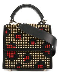 Les Petits Joueurs - Black Fold Over Studded Tote Bag - Lyst
