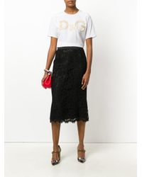 Dolce & Gabbana White Floral Brocade Logo T-shirt