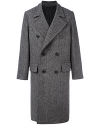AMI - Black Double Breasted Classic Long Coat for Men - Lyst