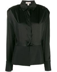 Matériel Black Long-sleeved Peplum Shirt
