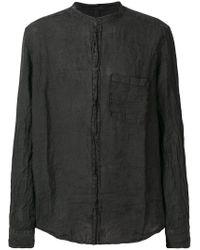 Poeme Bohemien Black Crinkle-effect Mandarin-collar Shirt for men