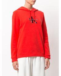 Ck Jeans - Red Logo Print Hoodie - Lyst
