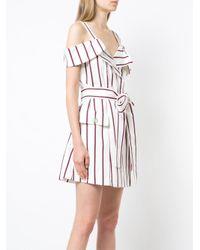 Alexis White Striped Cold Shoulder Wrap Dress