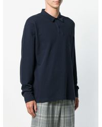 メンズ Sunspel ロングスリーブ ポロシャツ Blue