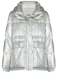 Yves Salomon Metallic Zip-up Down Jacket