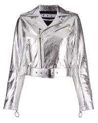 Байкерская Куртка С Эффектом Металлик Off-White c/o Virgil Abloh, цвет: Metallic