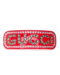 Gucci ビジューロゴ ヘアクリップ Red