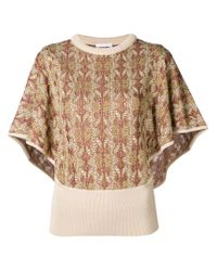 Chloé Natural Knitted Batwing Sleeve Top