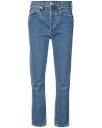 Re/done Blue Cropped Straight Jeans