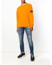 メンズ Pt05 Distressed Slim-fit Jeans Blue