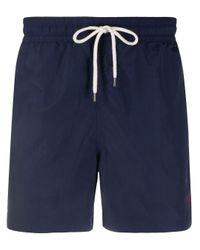 メンズ Polo Ralph Lauren ドローストリング トランクス水着 Blue