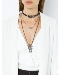 Camila Klein Metallic Leather Trim 3-necklace Set