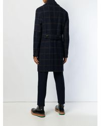 Tagliatore Blue Grid Pattern Midi Coat for men