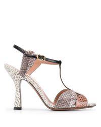 L'Autre Chose Multicolor Snakeskin Effect Sandals