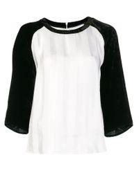 Camiseta de terciopelo con rayas tonales Golden Goose Deluxe Brand de color White