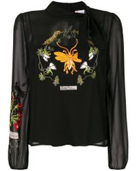 RED Valentino Black Floral Embroidered Shift Blouse