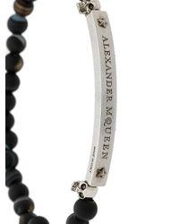 Alexander McQueen Black Beaded Bracelet for men