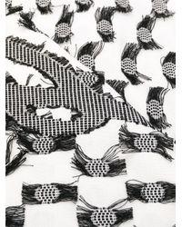 Écharpe imprimée à bords frangés Karl Lagerfeld en coloris White