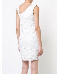 Asymmetric studded lace dress Nicole Miller en coloris White