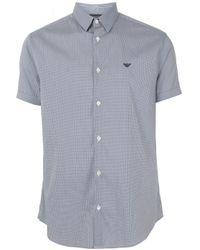 Emporio Armani Blue Micro Check Shirt for men