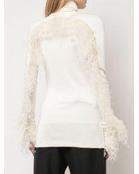 Top con piume di Proenza Schouler in White
