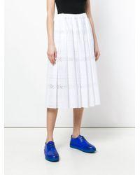 Comme des Garçons White Broderie Anglaise Pleated Skirt