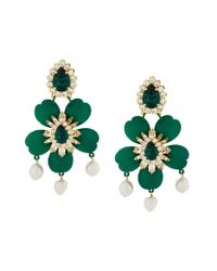 Shourouk - Dahlia Green Earrings In Green Brass, Swarovski Crystals And Pearls - Lyst
