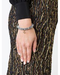Sydney Evan - Gray Grey Cat's Eye Beaded Bracelet With Diamond Anchor Charm - Lyst