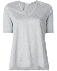 Fabiana Filippi Gray V-neck T-shirt