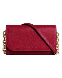 Burberry - Red Topstitch Detail Chain Wallet - Lyst