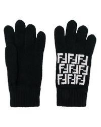 Трикотажные Перчатки С Логотипом Ff Fendi для него, цвет: Black