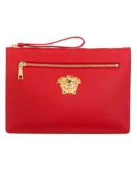 Versace Red Grain Leather Palazzo Clutch for men
