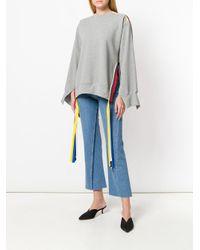 Ports 1961 Gray Oversized-Sweatshirt mit bunten Bändern