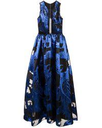 Marchesa notte Blue Cut-out Detailed Dress