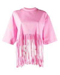 MSGM フリンジ Tシャツ Pink
