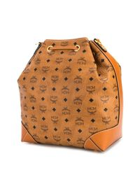 MCM プリント バケットバッグ Brown