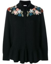 RED Valentino Black Zipped Floral Jumper